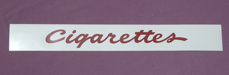 National Cigarette Machine Marquee Decal - Red Script Lettering