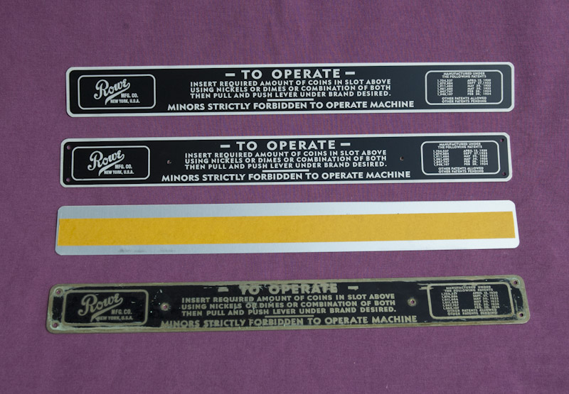 Reproduction Rowe Imperial Cigarette Vendor Instruction Tag