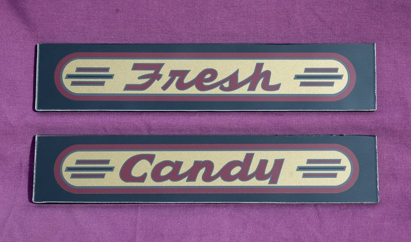 "Stoner Pre-War Theater Marquee ""Fresh Candy"" Glass Set"